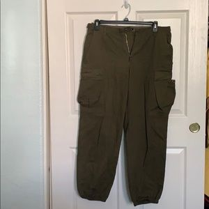 Olive High Waisted Cargo Pants